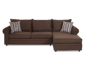 Bob's Java Modern Sectional Sofa w/ Left Chaise Lounge