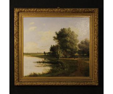 19th Century Flemish Landscape Painting Oil On Canvas