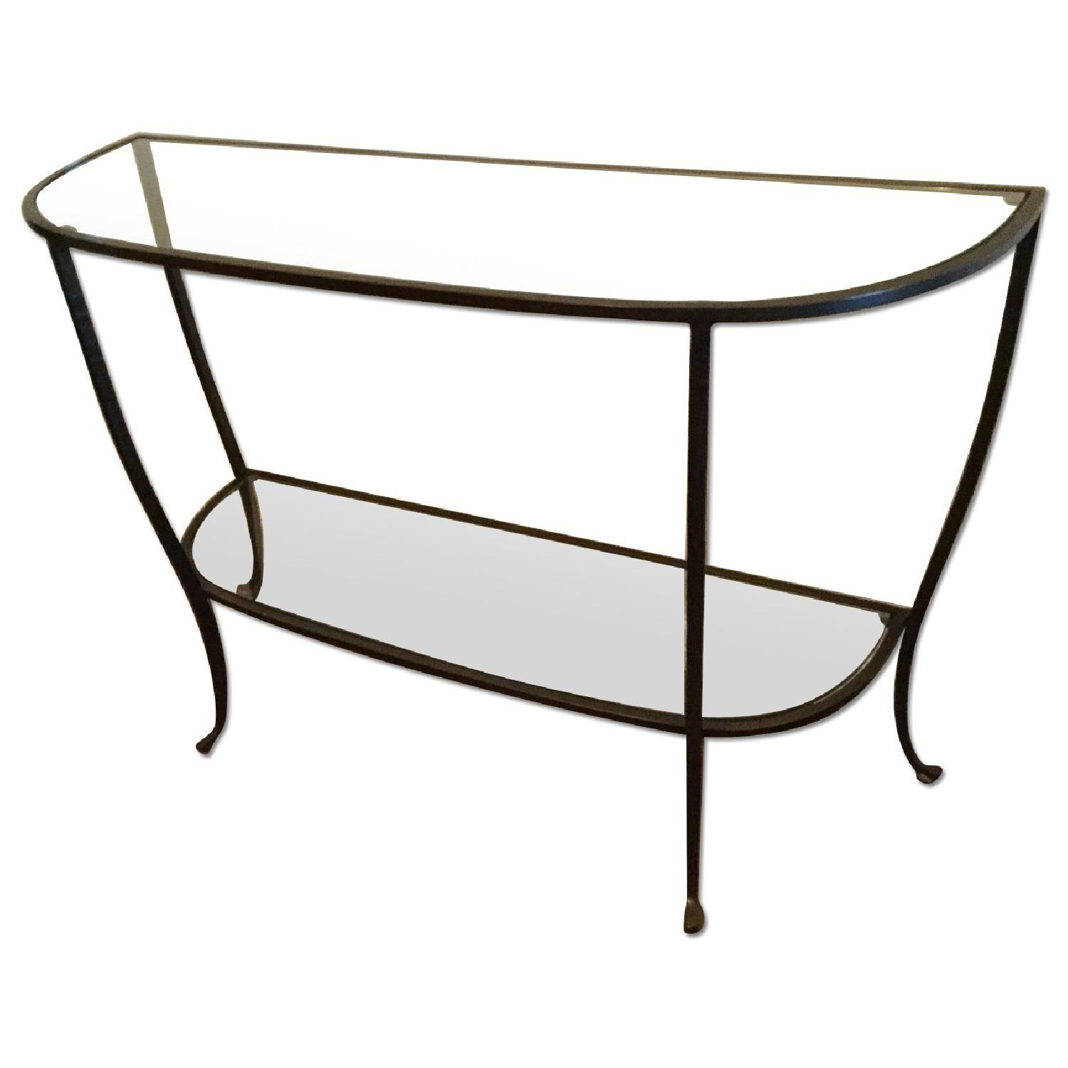 Pottery Barn Glass Iron Console Table AptDeco - Pottery barn black console table