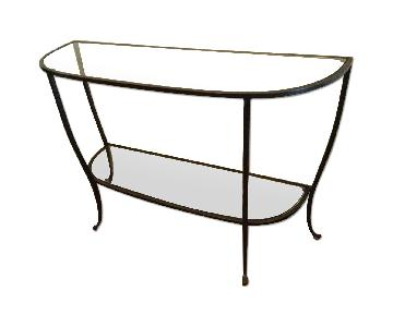 Pottery Barn Glass & Iron Console Table