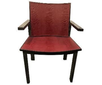 Moura Starr Custom Leather Red & Black Embossed Desk Chair