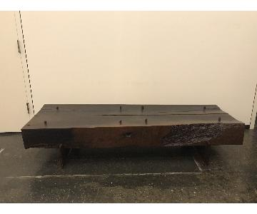 Moura Starr Solid Wood Live Edge Coffee Table w/ Glass top