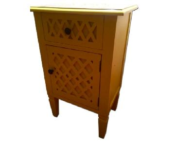 Sunny Yellow Nightstand w/ Mirrored Top