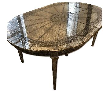 Vintage Mirrored Table w/ 3 Extension Leaves