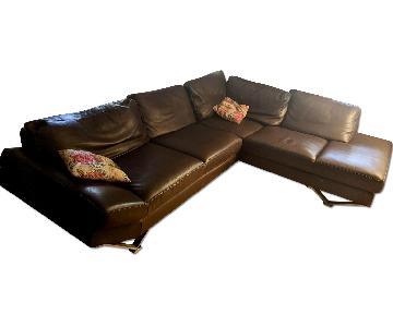 Natuzzi Domino Brown Leather Sectional Couch