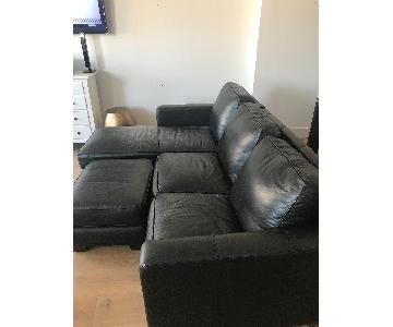 Thomasville Black Leather Sectional Sofa & Ottoman