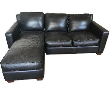 Thomasville Black Leather Sectional Sofa & Ottoman