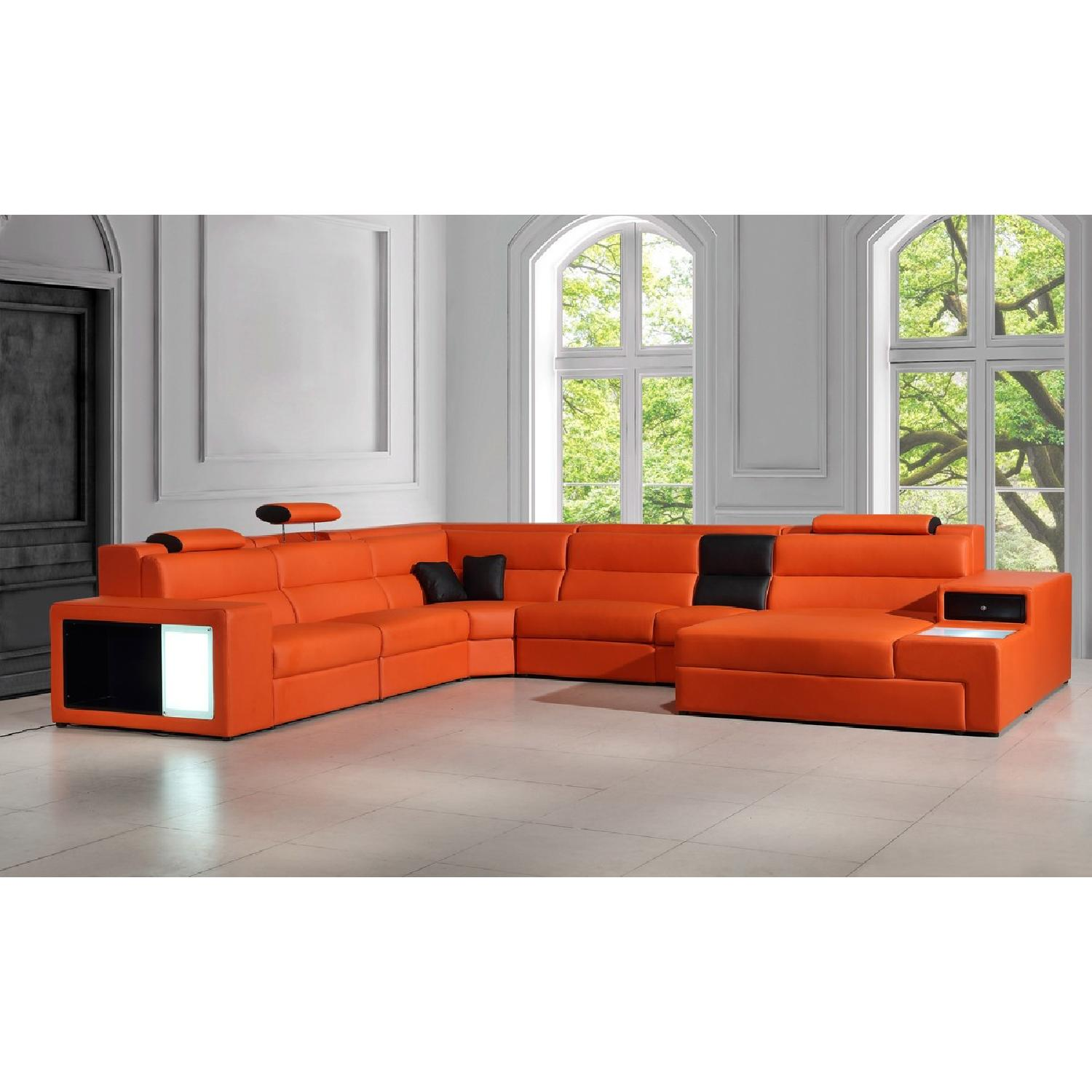 ... VIG Furniture Modern Orange Faux Leather Sectional Sofa 4 ...