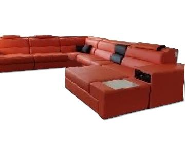 VIG Furniture Modern Orange Faux Leather Sectional Sofa