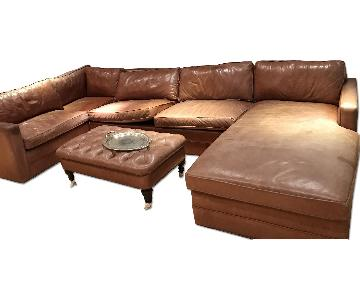 Carlyle Foresta Saddle Brown Leather Sleeper Sectional Sofa