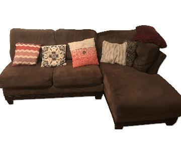 Brown Suede 3-Piece Sectional Couch