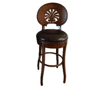 Vintage Barstool w/ Nailhead Studs & Leather Swivel Seat