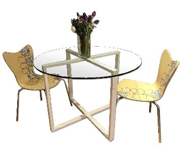 West Elm Round Glass Dining Table w/ 2 Chairs
