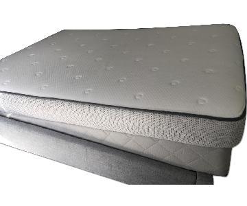 West Elm Gray Bed Frame w/ Headboard