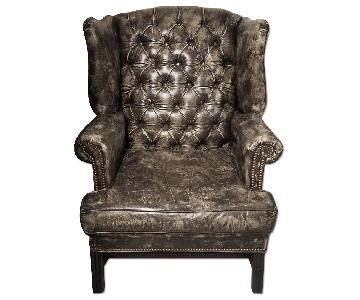 Restoration Hardware Wingback Distressed Leather Chair