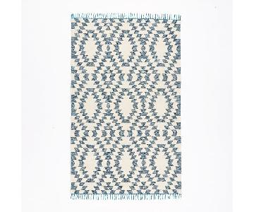 West Elm Palmette Chenille Wool Kilim Area Rug in Midnight