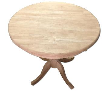 Wood Pedestal Dining Table w/ Glass Top