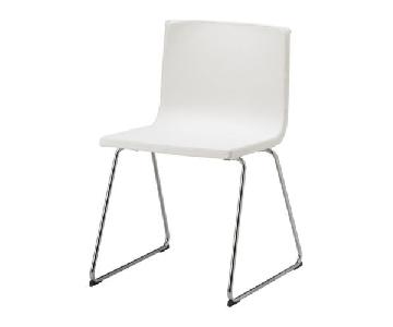 Ikea White Faux Leather & Chrome Modern Dining Chair