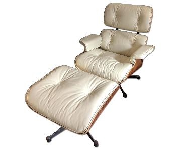 Mid Century Modern Classic Lounge Chair & Ottoman in Cream