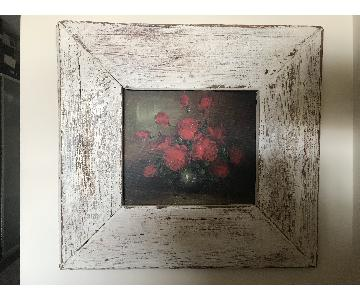 Vintage Shabby Chic Red Rose Oil Painting