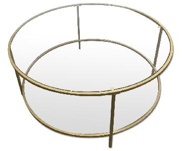 Modern Brushed Gold & Glass Coffee Table