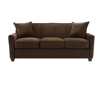 Raymour & Flanigan Brown Microfiber 3 Seater Sofa