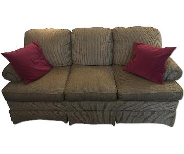 Clayton Marcus Brown-Neutral Slipcovered Couch