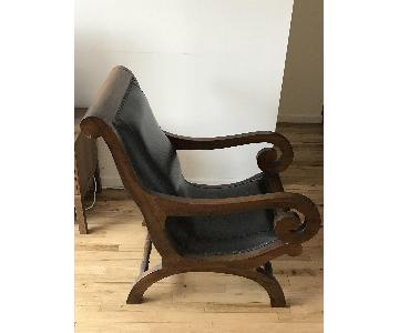 Dark Brown Wood & Black Leather Chair