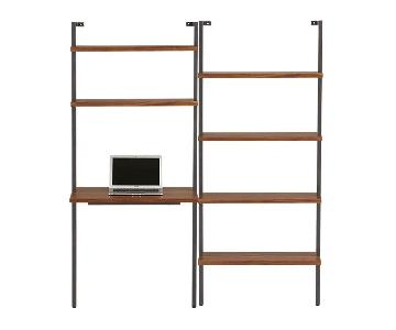 CB2 Helix Acacia Desk w/ Wall-Mounted Bookshelf