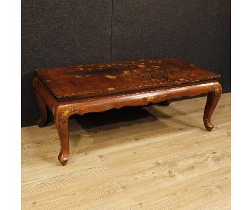French Coffee Table in Lacquered Chinoiserie Wood