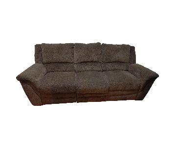 Raymour & Flanigan Microfiber Brown Reclining Sofa