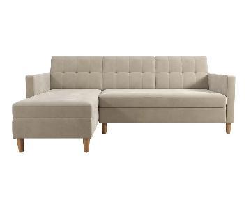 Joss & Main Tan Espada Reversible Sleeper Sectional Sofa