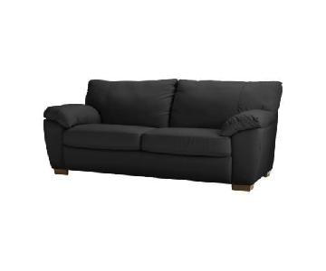Ikea Vreta Black Leather Couch