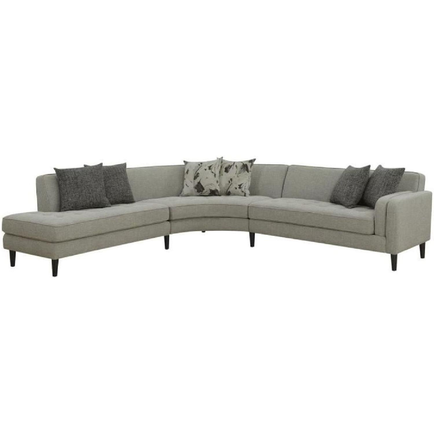 Mid Century Style Curved Sectional w/ Button Tufting