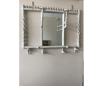 Vintage White Wood Wall Mirror w/ Hooks