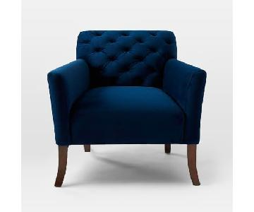 West Elm Elton Armchair in Ink Blue Velvet