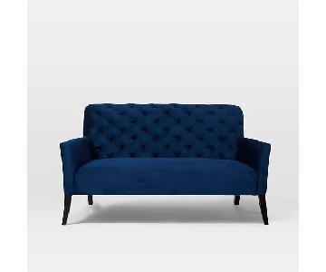 West Elm Elton 2-Seater Settee in Ink Blue Velvet