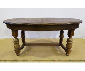 Antique French Solid Oak Extending Dining Table