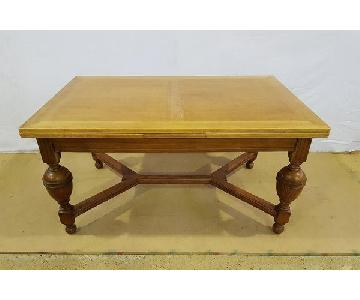 Antique French Tiger Oak Extendable Dining Table