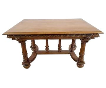 Jacobean Style 1930's French Carved Solid Dining Table