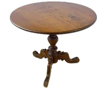 Antique French Flip Tilt-Top Oval Tee Side Table