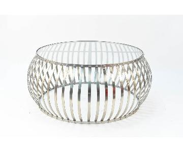 Vintage Metal & Glass Round Coffee Table