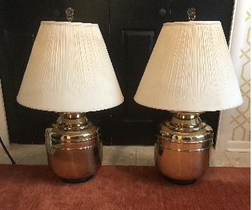 Vintage Chinoiserie Style Large Brass Lamp