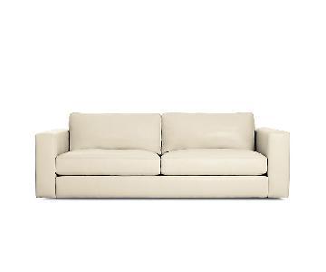 Design Within Reach Cream Reid Leather Sofa