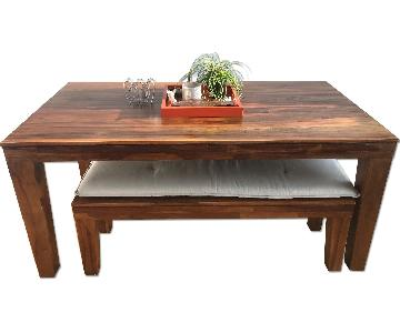 West Elm Carroll Farming Dining Table w/ 2 Benches