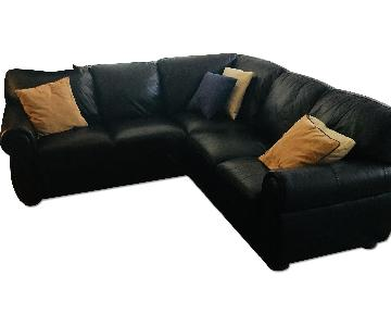 Raymour & Flanigan Dark Brown Leather Sectional Sofa