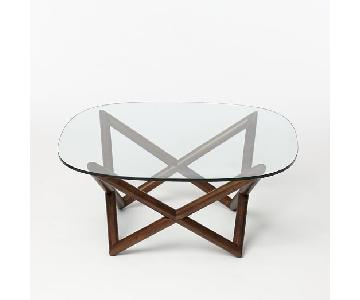 West Elm Glass & Wood Coffee Table