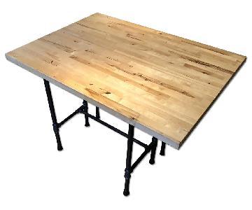 Pipe Rustic Industrial Solid Wood Butcher Block Black Table