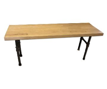 Pipe Rustic Industrial Solid Wood Butcher Block Black Bench