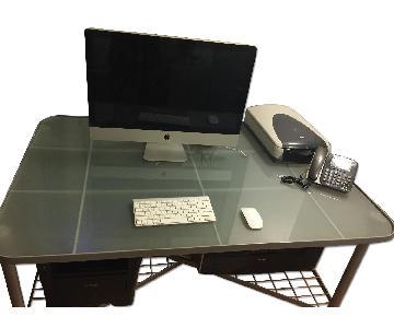 Ikea Office Desk w/ Glass Top & Chair